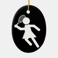 Woman Tennis Player - Tennis Symbol (on Black) Ceramic Ornament