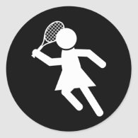 Woman Tennis Player - Tennis Symbol (on Black) Classic Round Sticker