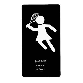 Woman Tennis Player - Tennis Symbol (on Black) Personalized Shipping Label