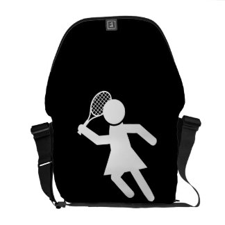 Woman Tennis Player - Tennis Symbol (on Black) Commuter Bags