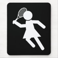 Woman Tennis Player - Tennis Symbol (on Black) Mouse Pad