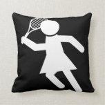 Woman Tennis Player - Tennis Symbol (on Black) Throw Pillows