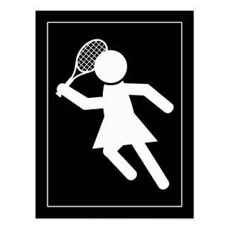 Woman Tennis Player - Tennis Symbol (on Black) Postcard