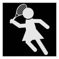 Woman Tennis Player - Tennis Symbol (on Black) Poster