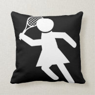 Woman Tennis Player - Tennis Symbol (on Black) Throw Pillow