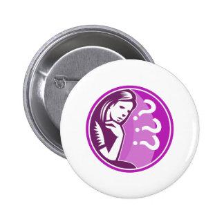 Woman Thinker Thinking Worry Retro Pin