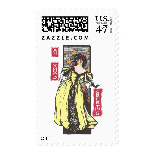 Woman Toasting Christmas Antique Stamp
