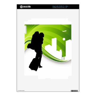Woman Traveler Airport Silhouette Skins For iPad 2