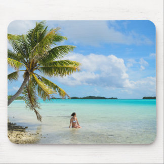 Woman under a palm tree in the Pacific mousepad