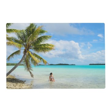 Woman under a palm tree in the Pacific placemat