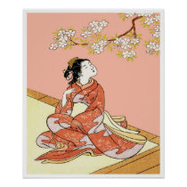 Woman Under Cherry Blossoms Poster
