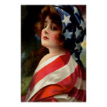 Woman US Flag 4th of July Poster