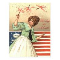 Woman US Flag Fireworks Firecracker Postcard