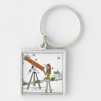 Woman using an astronomy telescope keychains