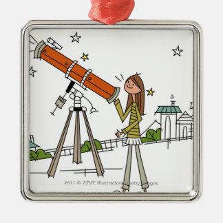 Woman using an astronomy telescope metal ornament
