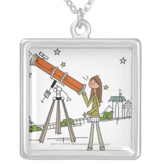 Woman using an astronomy telescope silver plated necklace