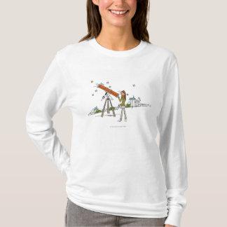 Woman using an astronomy telescope T-Shirt