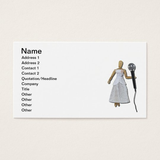 Woman Using Audio Microphone Business Card
