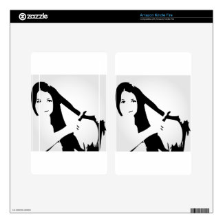 Woman using flat iron on hair decal for kindle fire