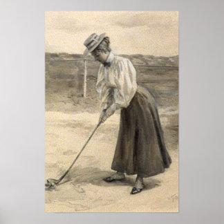 Woman Vintage Golf Fashion, 1890s Print