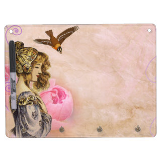 Woman vintage pink rose picture dry erase board with keychain holder