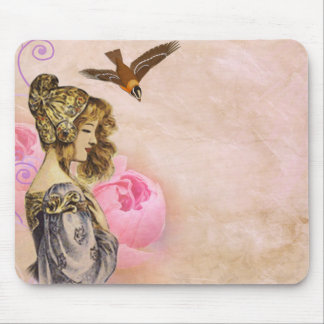 Woman vintage pink rose picture mouse pad