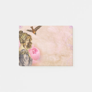 Woman vintage pink rose picture post-it notes