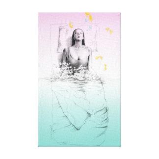 Woman waking up water surreal art canvas print