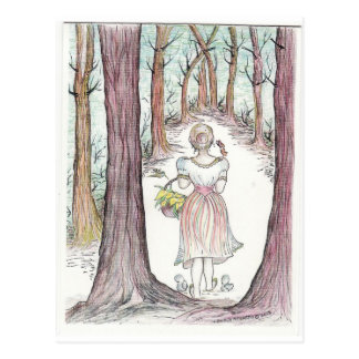 Woman walking along a wooded path. postcard