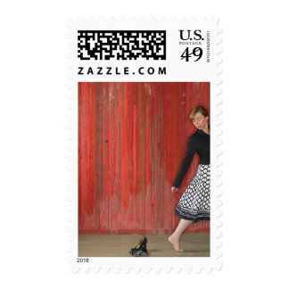 Woman Walking Away from High Heel Shooes Stamps