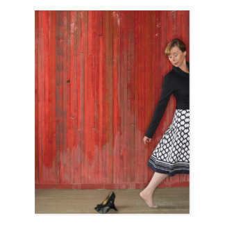 Woman Walking Away from High Heel Shooes Post Cards