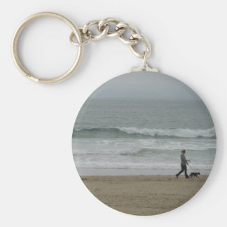Woman Walking Dog Along Pismo Beach, CA Keychain