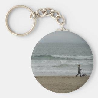 Woman Walking Dog Along Pismo Beach, CA Keychain
