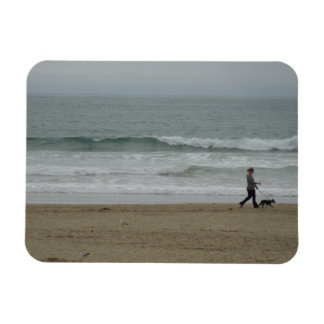 Woman Walking Dog Along Pismo Beach, CA Magnet