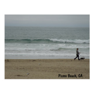 Woman Walking Dog Along Pismo Beach, CA Postcard