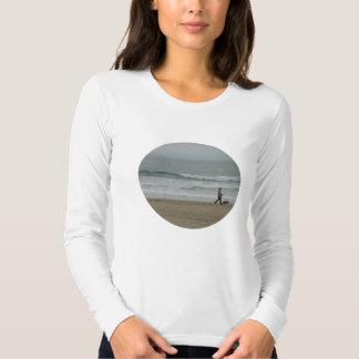 Woman Walking Dog Along Pismo Beach, CA Tee Shirt