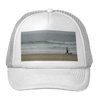 Woman Walking Dog Along Pismo Beach, CA Trucker Hat