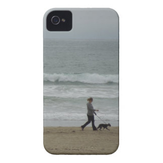 Woman Walking Dog at Pismo Beach, CA iPhone 4 Case