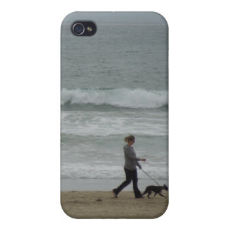 Woman Walking Dog at Pismo Beach, CA iPhone 4 Covers