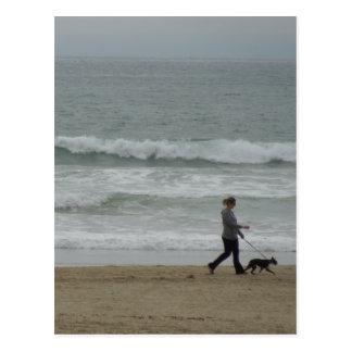 Woman Walking Dog at Pismo Beach, CA Postcard