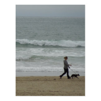 Woman Walking Dog at Pismo Beach, CA Postcards