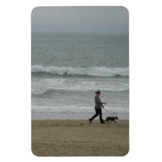 Woman Walking Dog at Pismo Beach, CA Rectangular Photo Magnet