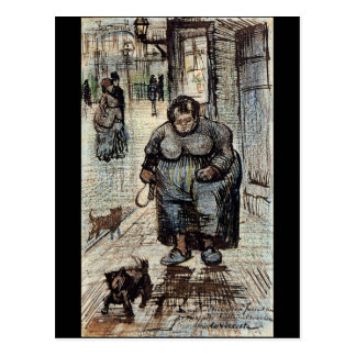 Woman Walking Her Dog by Vincent Van Gogh Post Card