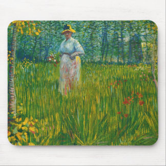 Woman Walking in a Garden by Van Gogh Mouse Pad