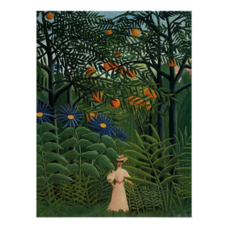 'Woman Walking in an Exotic Forest' Poster