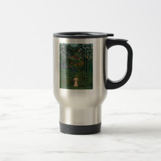 'Woman Walking in an Exotic Forest' Travel Mug