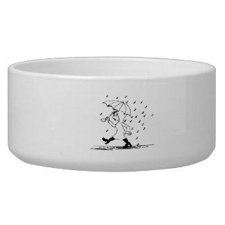 Woman Walking in the Rain Dog Water Bowls