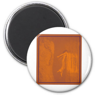 WOMAN WALKING INTO WATER 2 INCH ROUND MAGNET