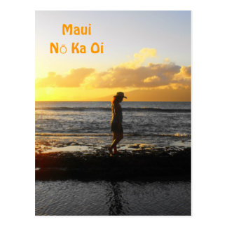 Woman Walking on Beach at Sunset in Maui Postcards