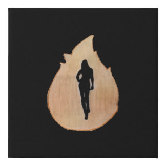 woman walking through fire faux canvas print